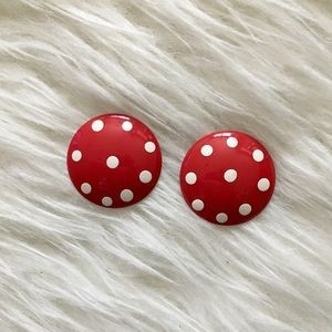 '80s / Red Polka Dot Disc Earrings